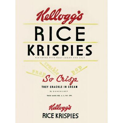 Art Group Vintage Kelloggs - Rice Krispiest Typography Canvas Wall Art