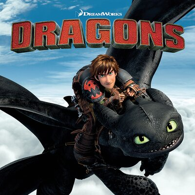 Art Group Dragons - Toothless and Hiccup Vintage Advertisement Canvas Wall Art