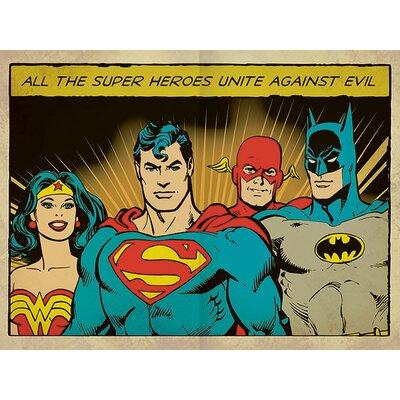 Art Group Dc Comics - Heroes Unite Against Evil Vintage Advertisement Canvas Wall Art