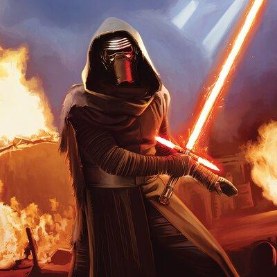 Art Group Star Wars Episode VII - Kylo Ren Fire Canvas Wall Art