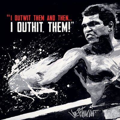 Art Group Muhammad Ali - Outwit Outhit Petruccio Canvas Wall Art in White