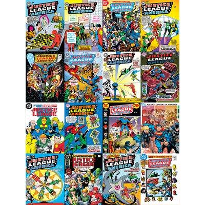 Art Group DC Comics - Justice League Comic Covers Montage Vintage Advertisement Canvas Wall Art