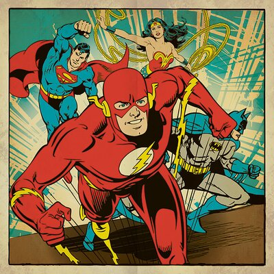 Art Group DC Comics - Heroes Together Vintage Advertisement Canvas Wall Art