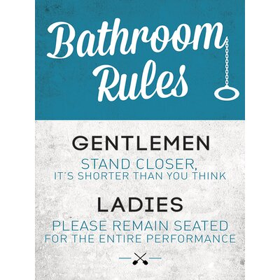Art Group Bathroom Rules Typography Canvas Wall Art