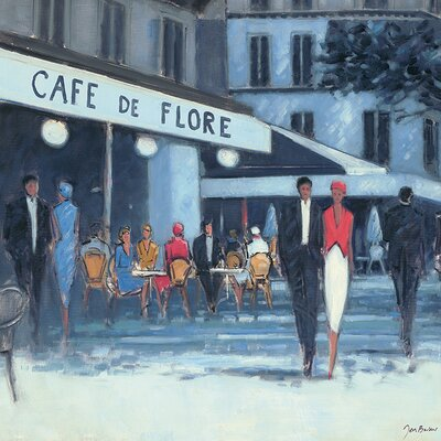 Art Group Jon Barker - Cafe De Flore Paris Canvas Wall Art