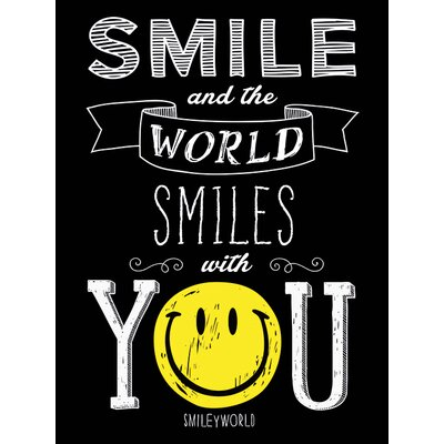Art Group Smiley - Smile and the World Smiles with You Typography Canvas Wall Art