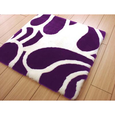 Bowron Sheepskin Shortwool Design Hand-Woven White/Purple Area Rug