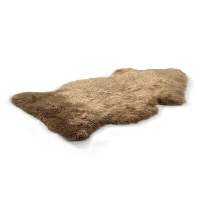 Bowron Sheepskin Long Wool Gold Star Brown Area Rug