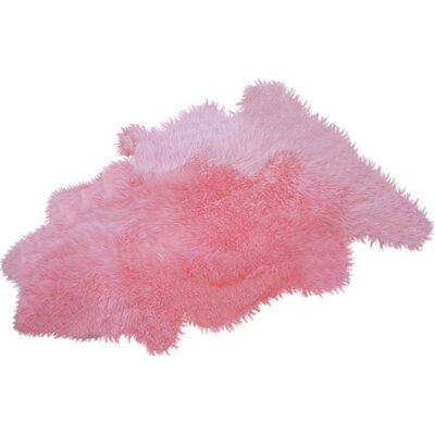 Bowron Sheepskin Long Wool Gold Star Pink Area Rug