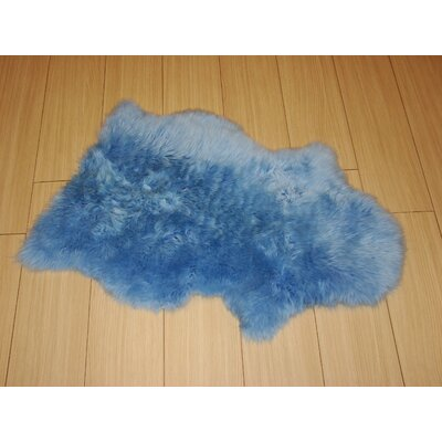 Bowron Sheepskin Long Wool Gold Star Blue Area Rug