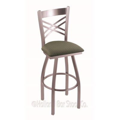 "Catalina 30"" Swivel Bar Stool Upholstery: Axis Grove, Finish: Stainless"