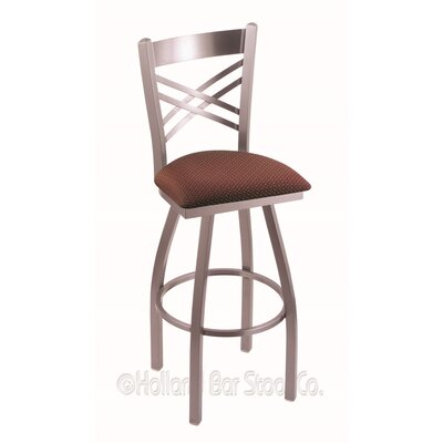 "Catalina 30"" Swivel Bar Stool Upholstery: Axis Paprika, Finish: Stainless"