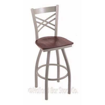 """Catalina 36"""" Swivel Bar Stool Upholstery: Dark Cherry Oak, Base Finish: Anodized Nickel"""