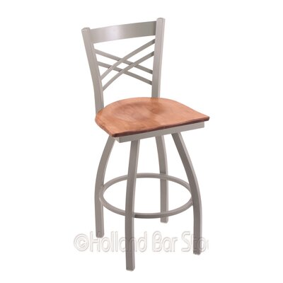 "Catalina 36"" Swivel Bar Stool Upholstery: Medium Maple, Base Finish: Anodized Nickel"