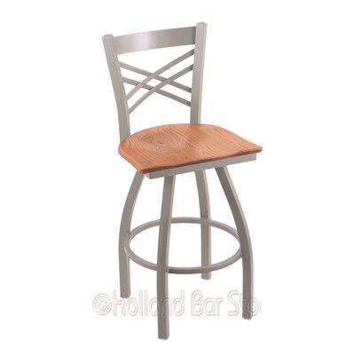 "Catalina 36"" Swivel Bar Stool Upholstery: Medium Oak, Base Finish: Anodized Nickel"