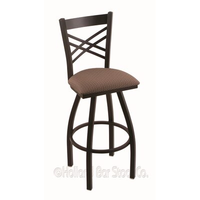 "Catalina 30"" Swivel Bar Stool Upholstery: Axis Willow, Finish: Black Wrinkle"