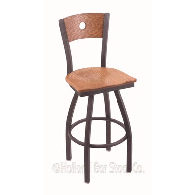 "Voltaire 30"" Swivel Bar Stool Upholstery: Medium Oak, Base Finish: Pewter"