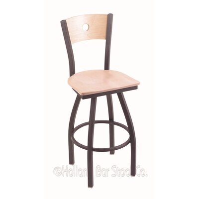 "Voltaire 30"" Swivel Bar Stool Upholstery: Natural Maple, Base Finish: Pewter"
