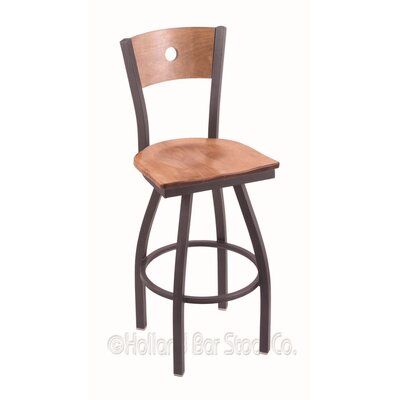 "Voltaire 30"" Swivel Bar Stool Upholstery: Medium Maple, Base Finish: Pewter"