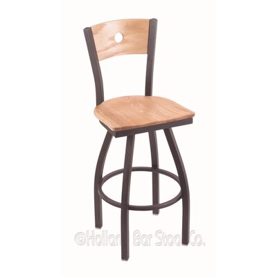 "Voltaire 30"" Swivel Bar Stool Upholstery: Natural Oak, Base Finish: Pewter"