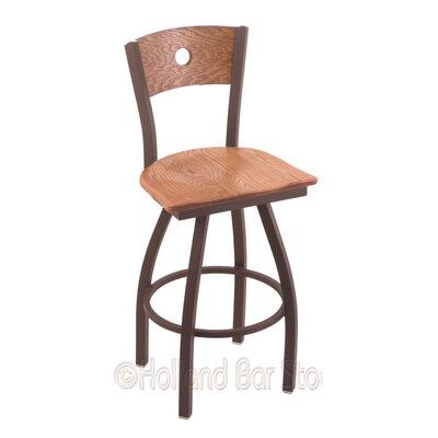 """Voltaire 25"""" Swivel Bar Stool Upholstery: Medium Oak, Base Finish: Bronze"""