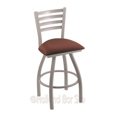 "Jackie 30"" Swivel Bar Stool Upholstery: Axis Paprika, Finish: Anodized Nickel"
