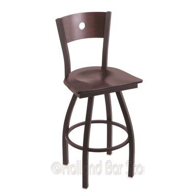 """Voltaire 30"""" Swivel Bar Stool Upholstery: Dark Cherry Maple, Base Finish: Black Wrinkle"""