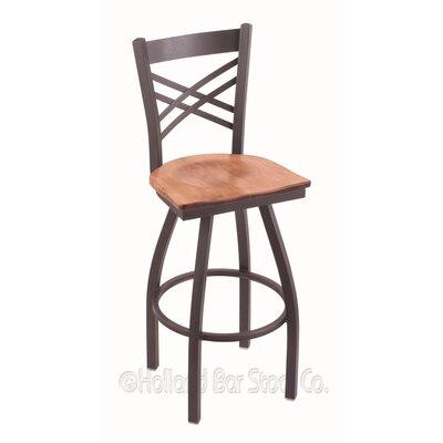 """Catalina 36"""" Swivel Bar Stool Upholstery: Medium Maple, Base Finish: Pewter"""