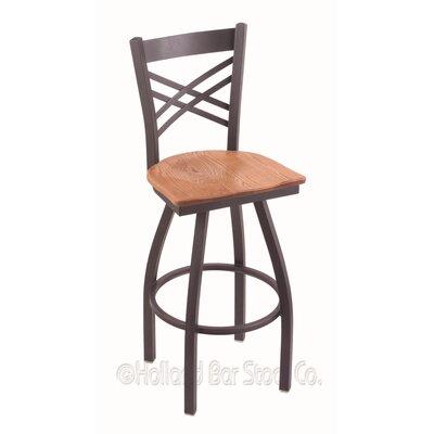 """Catalina 36"""" Swivel Bar Stool Upholstery: Medium Oak, Base Finish: Pewter"""