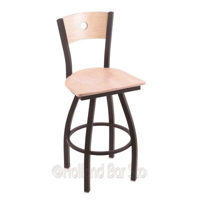 "Voltaire 25"" Swivel Bar Stool Upholstery: Natural Maple, Base Finish: Black Wrinkle"