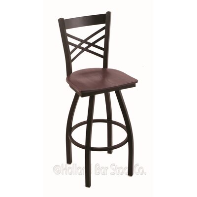"Catalina 36"" Swivel Bar Stool Upholstery: Dark Cherry Oak, Base Finish: Black Wrinkle"
