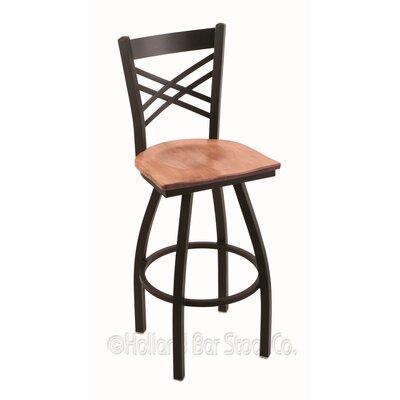 """Catalina 36"""" Swivel Bar Stool Upholstery: Medium Maple, Base Finish: Black Wrinkle"""