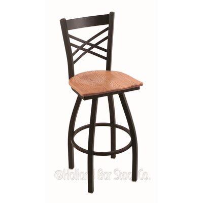 """Catalina 36"""" Swivel Bar Stool Upholstery: Medium Oak, Base Finish: Black Wrinkle"""