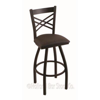"Catalina 36"" Swivel Bar Stool Upholstery: Rein Coffee, Finish: Black Wrinkle"