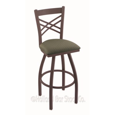 "Catalina 30"" Swivel Bar Stool Upholstery: Axis Grove, Finish: Bronze"