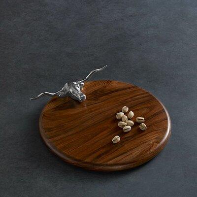 """Western Longhorn Wood 12"""" Round Cutting Board (Set of 2)"""