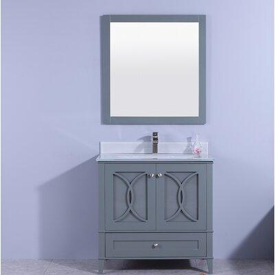 """Fernwood 36"""" Single Bathroom Vanity Set with Mirror Top Finish: Black, Base Finish: White"""