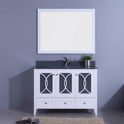 "Filmore 48"" Single Bathroom Vanity with Mirror Top Finish: Black, Base Finish: White"