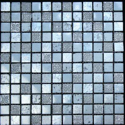"1"" x 1"" Stone Metal Tile in Blue / Grey"