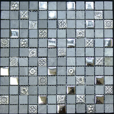 """1"""" x 1"""" Glass and Stone Metal Tile in Chrome"""