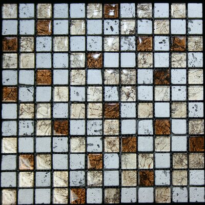 """1"""" x 1"""" Glass and Stone Mosaic Tile in Multi"""