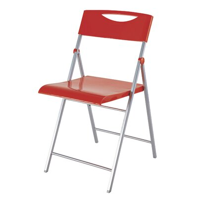 Smiling Metal Folding Chair Color: Red