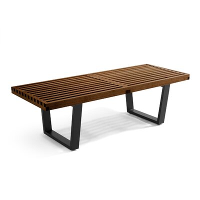 "Brenford Wood Bench Color: Beech Stained, Size: 14.5"" H x 60"" W x 18.5"" D"