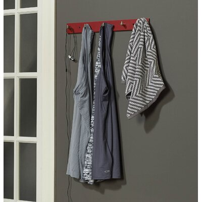 Blondell Wall Mounted Coat Rack Color: Red