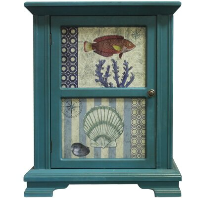 Ocean Fish and Shells Two-Paneled Wooden 1 Door Accent Cabinet