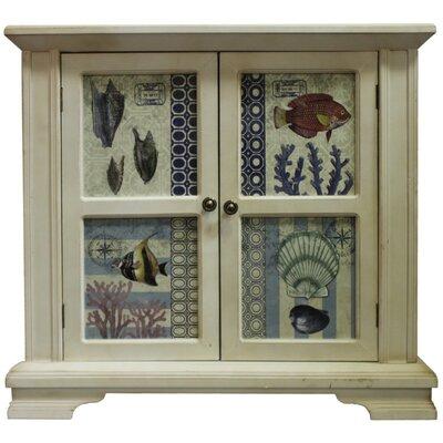 Ocean Fish and Shells Wooden 2 Door Accent Cabinet