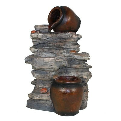 Resin Pottery on Rocks Water Fountain