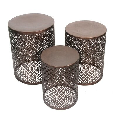 3 Piece Copper Stool Set