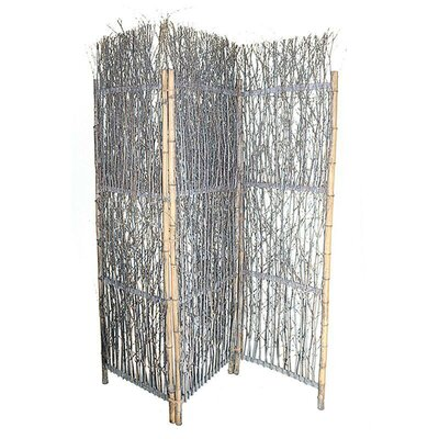 Willow 3 Panel Room Divider Color: Gray