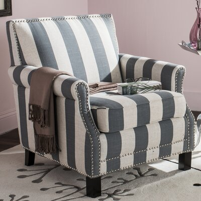 Randall Armchair Upholstery: Gray and White